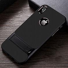 Apple iPhone Xs Max用ハイブリットバンパーケース スタンド プラスチック 兼シリコーン カバー A01 アップル ブラック