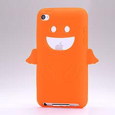 Apple iPod Touch 4用シリコンケース 天使 ソフトタッチラバー アップル オレンジ