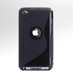Apple iPod Touch 4用ソフトケース S ライン クリア透明 アップル ブラック