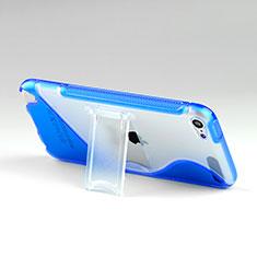 Apple iPod Touch 5用ソフトケース S ライン クリア透明 スタンド アップル ネイビー