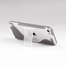 Apple iPod Touch 5用ソフトケース S ライン クリア透明 スタンド アップル グレー