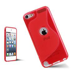 Apple iPod Touch 5用ソフトケース S ライン クリア透明 アップル レッド