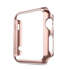Apple iWatch 3 42mm用ケース 高級感 手触り良い アルミメタル 製の金属製 バンパー アップル ピンク