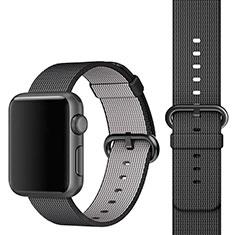 Apple iWatch 3 42mm用ウーブンナイロンバンド アップル ブラック