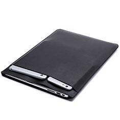 Apple MacBook 12 インチ用高品質ソフトレザーポーチバッグ ケース イヤホンを指したまま L20 アップル ブラック