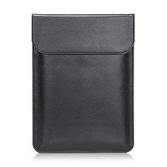 Apple MacBook 12 インチ用高品質ソフトレザーポーチバッグ ケース イヤホンを指したまま L21 アップル ブラック