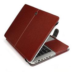 Apple MacBook Pro 13 インチ (2020)用高品質ソフトレザーポーチバッグ ケース イヤホンを指したまま L24 アップル ブラウン