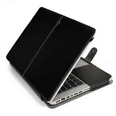 Apple MacBook Pro 13 インチ (2020)用高品質ソフトレザーポーチバッグ ケース イヤホンを指したまま L24 アップル ブラック
