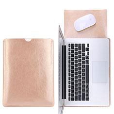 Apple MacBook Pro 13 インチ (2020)用高品質ソフトレザーポーチバッグ ケース イヤホンを指したまま L17 アップル ゴールド