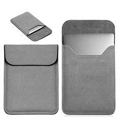 Apple MacBook Pro 15 インチ用高品質ソフトレザーポーチバッグ ケース イヤホンを指したまま L19 アップル グレー