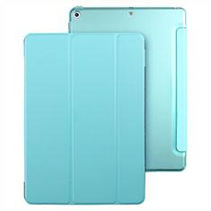 Apple New iPad 9.7 (2017)用手帳型 レザーケース スタンド アップル ブルー
