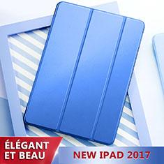 Apple New iPad 9.7 (2017)用手帳型 レザーケース スタンド L01 アップル ネイビー