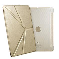 Apple New iPad 9.7 (2017)用手帳型 レザーケース スタンド L08 アップル ゴールド