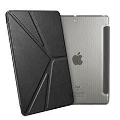 Apple New iPad 9.7 (2017)用手帳型 レザーケース スタンド L08 アップル ブラック