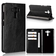 Asus Zenfone 3 Laser用手帳型 レザーケース スタンド カバー Asus ブラック