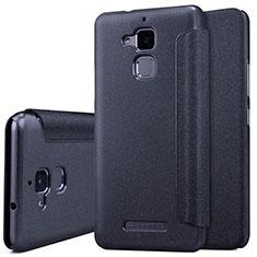 Asus Zenfone 3 Max用手帳型 レザーケース スタンド Asus ブラック