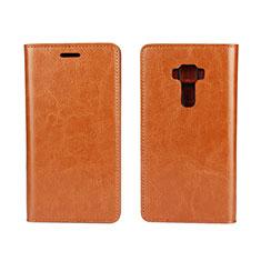 Asus Zenfone 3 ZE552KL用手帳型 レザーケース スタンド カバー Asus オレンジ