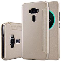Asus Zenfone 3 ZE552KL用手帳型 レザーケース スタンド Asus ゴールド