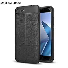 Asus Zenfone 4 Max ZC554KL用ハードケース プラスチック レザー柄 Asus ブラック