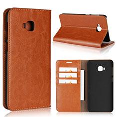 Asus Zenfone 4 Selfie Pro用手帳型 レザーケース スタンド カバー L01 Asus オレンジ