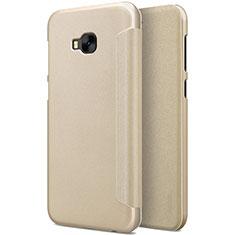 Asus Zenfone 4 Selfie Pro用手帳型 レザーケース スタンド Asus ゴールド