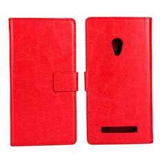 Asus Zenfone 5用手帳型 レザーケース スタンド カバー Asus レッド