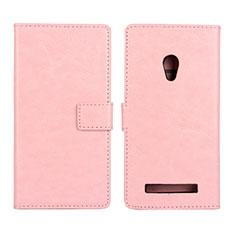 Asus Zenfone 5用手帳型 レザーケース スタンド カバー Asus ピンク