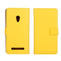 Asus Zenfone 5用手帳型 レザーケース スタンド カバー L01 Asus イエロー