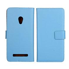 Asus Zenfone 5用手帳型 レザーケース スタンド カバー L01 Asus ブルー