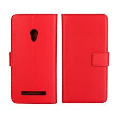 Asus Zenfone 5用手帳型 レザーケース スタンド カバー L01 Asus レッド