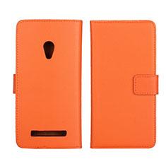 Asus Zenfone 5用手帳型 レザーケース スタンド カバー L01 Asus オレンジ