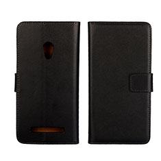 Asus Zenfone 5用手帳型 レザーケース スタンド カバー L01 Asus ブラック