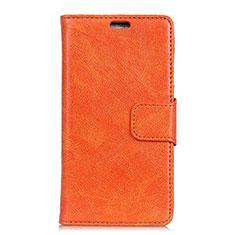Asus Zenfone 5 Lite ZC600KL用手帳型 レザーケース スタンド カバー L01 Asus オレンジ