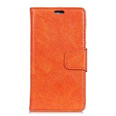 Asus Zenfone 5 ZS620KL用手帳型 レザーケース スタンド カバー Asus オレンジ