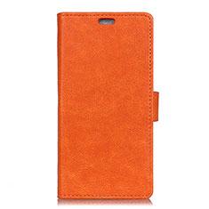 Asus Zenfone 5 ZS620KL用手帳型 レザーケース スタンド カバー L08 Asus オレンジ
