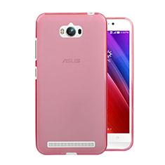 Asus Zenfone Max ZC550KL用極薄ソフトケース シリコンケース 耐衝撃 全面保護 クリア透明 Asus ピンク