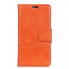 Asus ZenFone V500KL用手帳型 レザーケース スタンド カバー Asus オレンジ