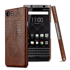 Blackberry KEYone用ハードケース プラスチック レザー柄 Blackberry ブラウン