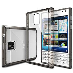 Blackberry Passport Q30用極薄ソフトケース シリコンケース 耐衝撃 全面保護 クリア透明 T03 Blackberry グレー