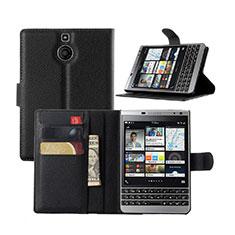Blackberry Passport Silver Edition用手帳型 レザーケース スタンド Blackberry ブラック