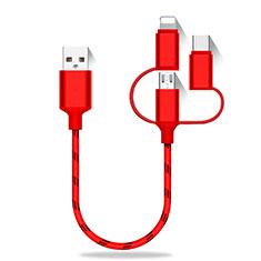 Lightning USBケーブル 充電ケーブル Android Micro USB Type-C 25cm S01 レッド