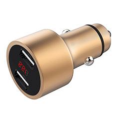 車載充電器3.1A USB電源2ポート カーチャージャー 急速充電 ゴールド