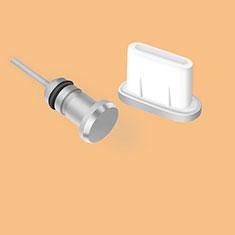 Google Pixel 4 XL用アンチ ダスト プラグ キャップ ストッパー USB Android Type-Cユニバーサル シルバー