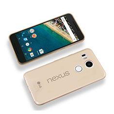 Google Nexus 5X用極薄ソフトケース シリコンケース 耐衝撃 全面保護 クリア透明 グーグル ゴールド