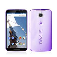 Google Nexus 6用極薄ソフトケース シリコンケース 耐衝撃 全面保護 クリア透明 グーグル パープル