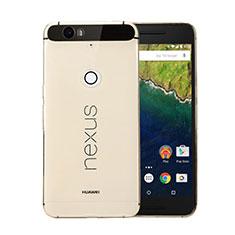 Google Nexus 6P用極薄ソフトケース シリコンケース 耐衝撃 全面保護 クリア透明 グーグル ゴールド