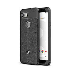Google Pixel 3a XL用シリコンケース ソフトタッチラバー レザー柄 グーグル ブラック