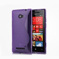 HTC 8X Windows Phone用ソフトケース S ライン クリア透明 HTC パープル