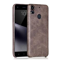 HTC Desire 10 Pro用ハードケース プラスチック レザー柄 HTC ブラウン