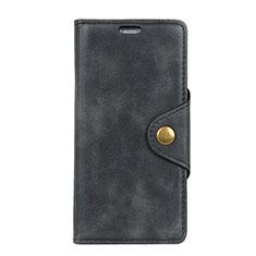 HTC Desire 12 Plus用手帳型 レザーケース スタンド カバー HTC ブラック